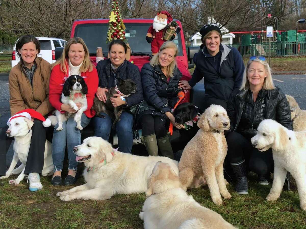 Each year dog owners who frequent Cherry Lawn Park pull gingerbread men from a Christmas tree with suggestions for holiday gifts for families in need in Darien. From left, Ellen Powis, Patti Bumgardner, Marina Christofi, Kelly Scallon, Luisa Brakman, Charlotte Morrissey and their four-legged friends.