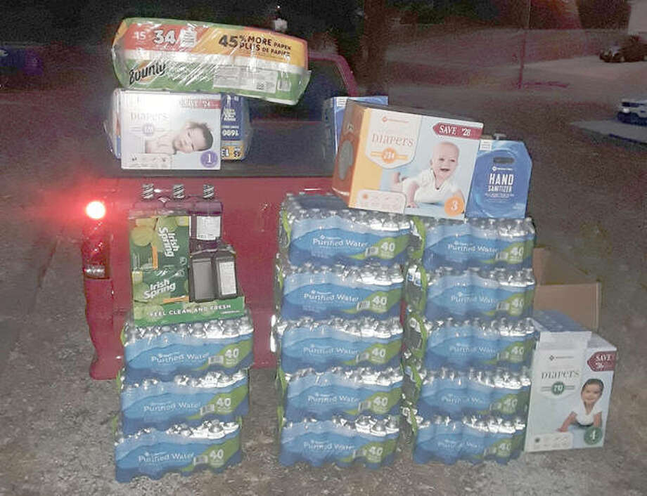 Some of the donations collected by Metro East resident Chris Hudzik, which he delivered to Taylorville tornado victims after Saturday's storms. Photo: For The Telegraph