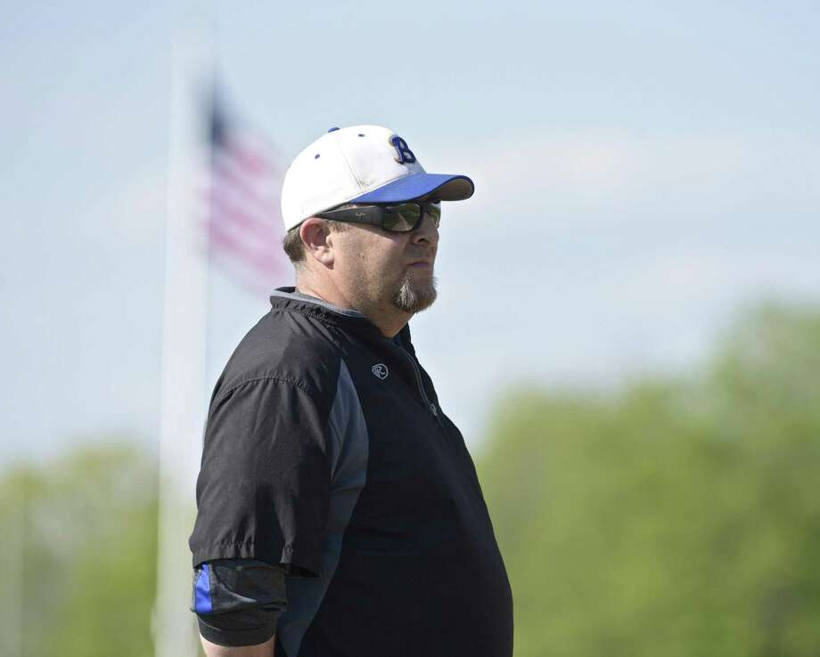 Brookfield head coach Bryan Muller is seen during the boys baseball game between New Milford and Brookfield high schools on May 9 at Brookfield High School. Photo: H John Voorhees III / Hearst Connecticut Media / The News-Times