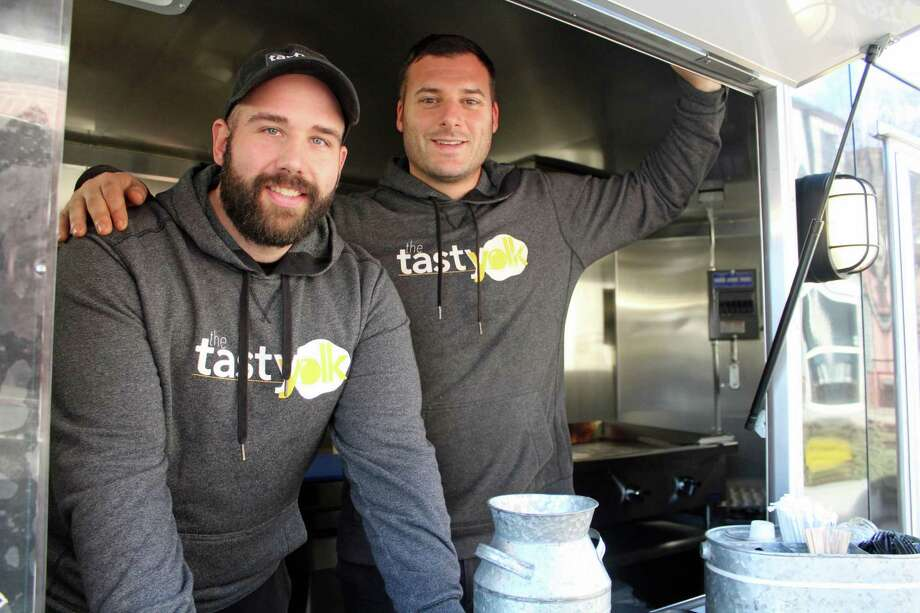 From left, Eric Felitto and Mike Bertanza, co-owners of The Tasty Yolk. Photo: Humberto J. Rocha / Hearst Connecticut Media / New Canaan News