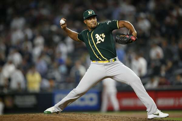 NEW YORK, NY - OCTOBER 3: Jeurys Familia #32 of the Oakland Athletics pitches during the game against the New York Yankees in the American League Wild Card Game at Yankee Stadium on October 3, 2018 New York, New York. The Yankees defeated the Athletics 7-2. Zagaris/Oakland Athletics/Getty Images)