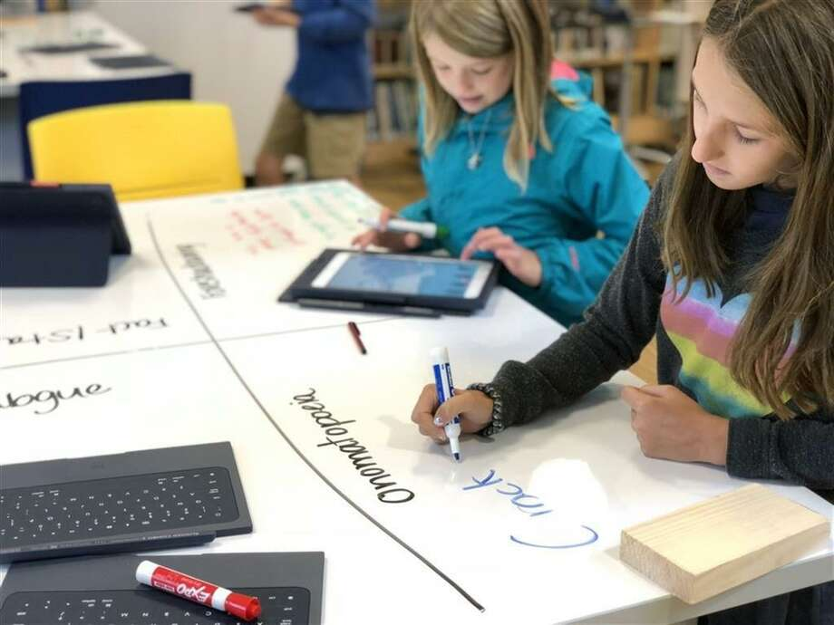 Students engage in the new Amicus Foundation Innovation Space at New Canaan Country School. Photo: Contributed Photo