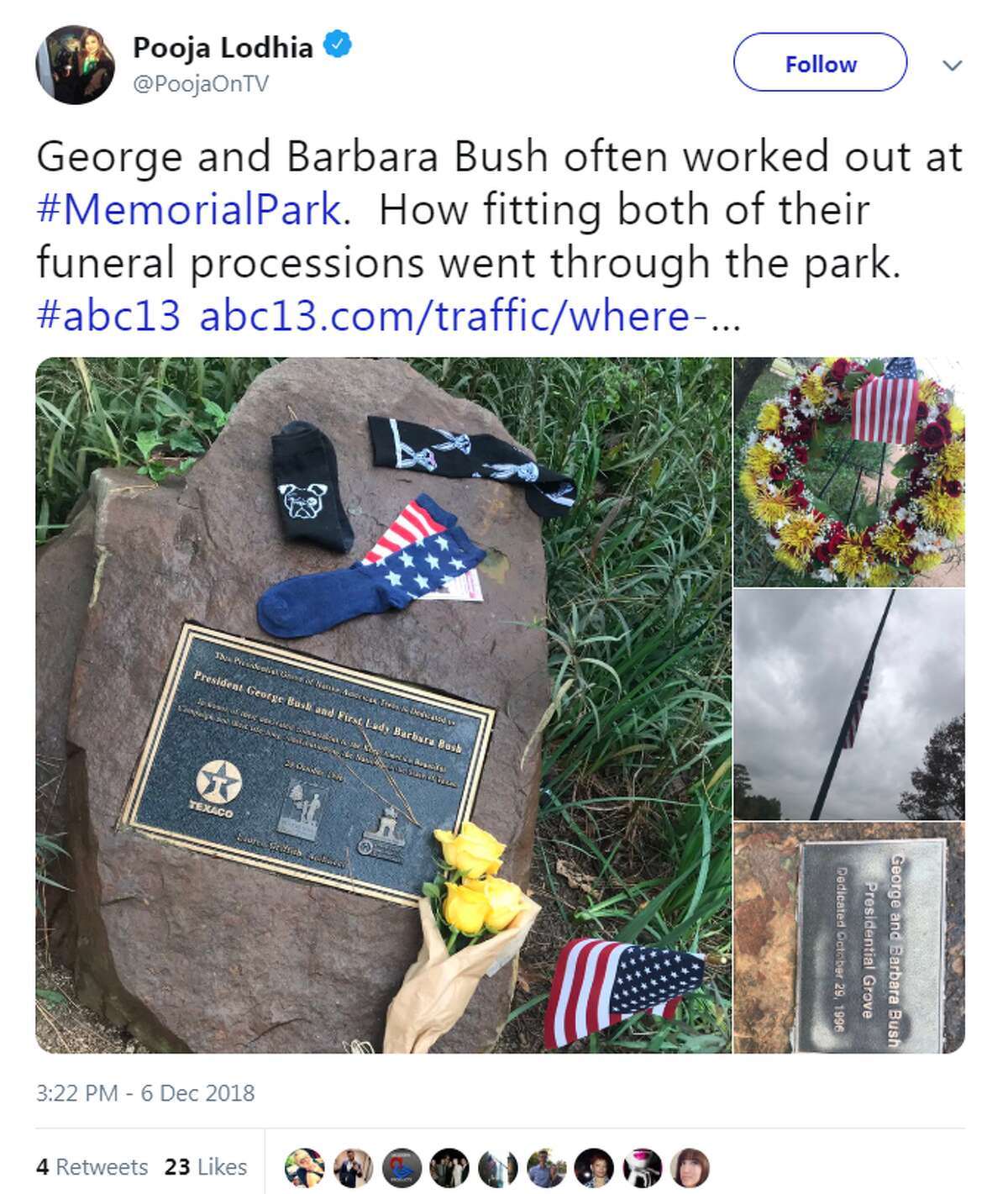 @PoojaOnTV George and Barbara Bush often worked out at #MemorialPark. How fitting both of their funeral processions went through the park.