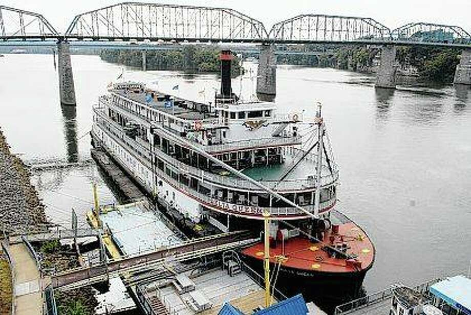 The Delta Queen is moored at Coolidge Park on in downtown Chattanooga, Tennessee. President Donald Trump signed legislation last month that will allow the historic 1920s riverboat to cruise the nation's rivers once again after a 10-year layoff. Photo: John Rawlston | Chattanooga Times Free Press (AP)