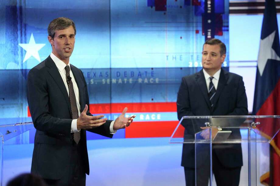 U.S. Rep. Beto O'Rourke, D-Texas, left, and U.S. Sen. Ted Cruz, R-Texas, right, take part in a debate for the Texas U.S. Senate, Tuesday, Oct. 16, 2018, in San Antonio. (Tom Reel/San Antonio Express-News via AP, Pool) Photo: Tom Reel, POOL / Associated Press / The Dallas Morning News
