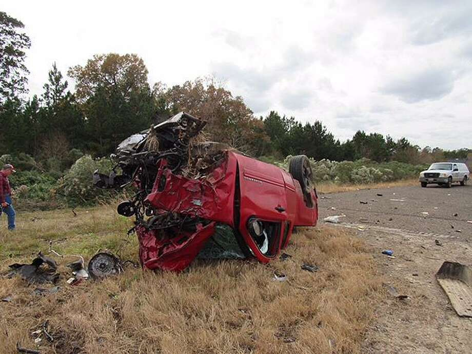 This red Chevrolet truck is alleged to have hit the left front bumper of an 18-wheeler head-on last Wednesday. The driver, from Cleveland, was killed. Photo: Submitted