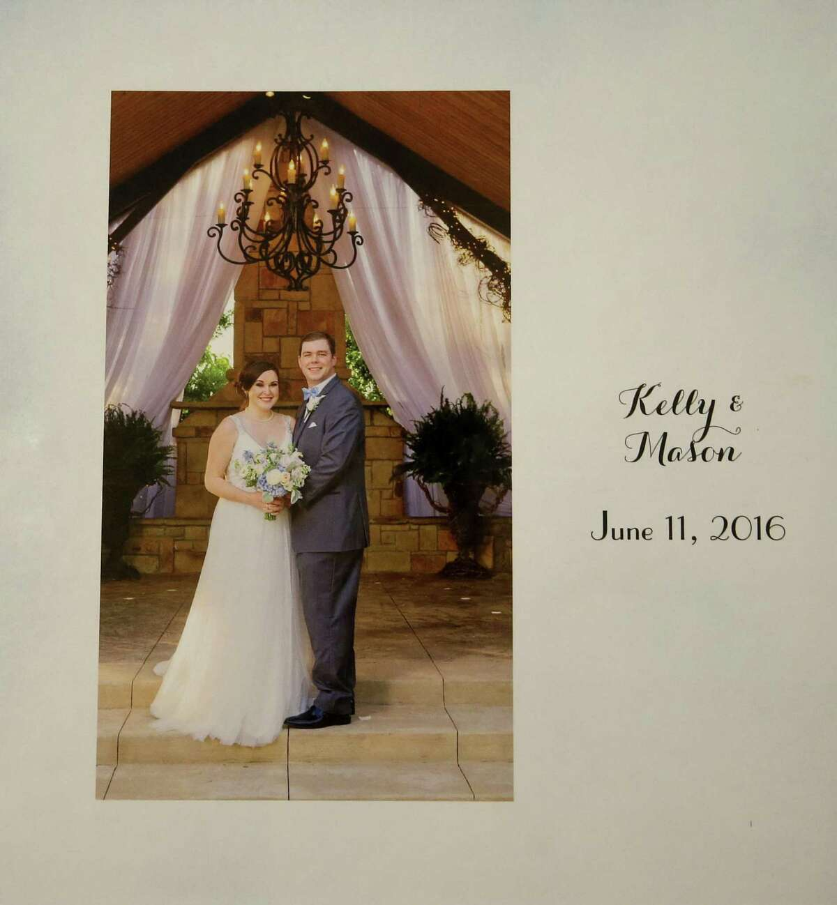A wedding photo book of Mason Hyde and his wife, Kelly Hyde, is shown at their home Monday, Nov. 26, 2018, in Spring. The couple met while attending Texas A&M. Millennials are getting divorced at a way lower rate than previous generations, and according to sociologists, this means that divorce will continue to trend downward in recent years.