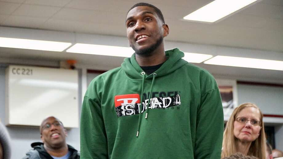 Warriors center Kevon Looney addresses students at his alma mater, Alexander Hamilton High School, in Milwaukee. Photo: Courtesy Of The Warriors