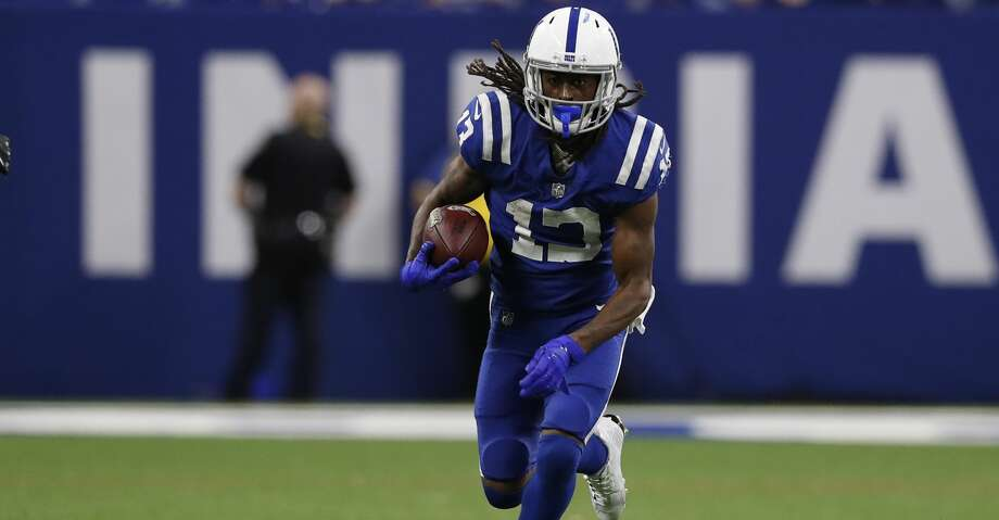 Indianapolis Colts wide receiver T.Y. Hilton (13) runs with the ball after a catch against the Miami Dolphins during an NFL football game in Indianapolis, Sunday, Nov. 25, 2018. The Colts won the game 27-24. (Jeff Haynes/AP Images for Panini) Photo: Jeff Haynes/Associated Press