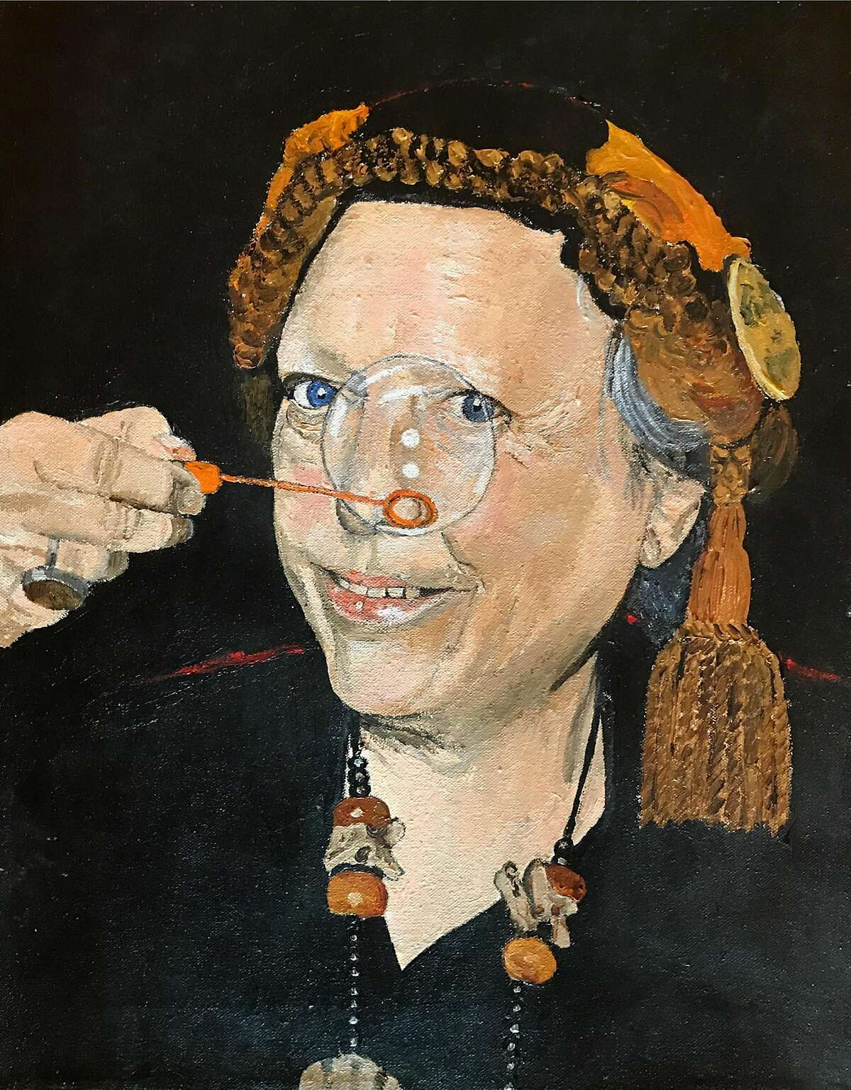 "Portrait of Julia Vinograd, ""the Bubble Lady"" by her sister Debbie Vinograd"