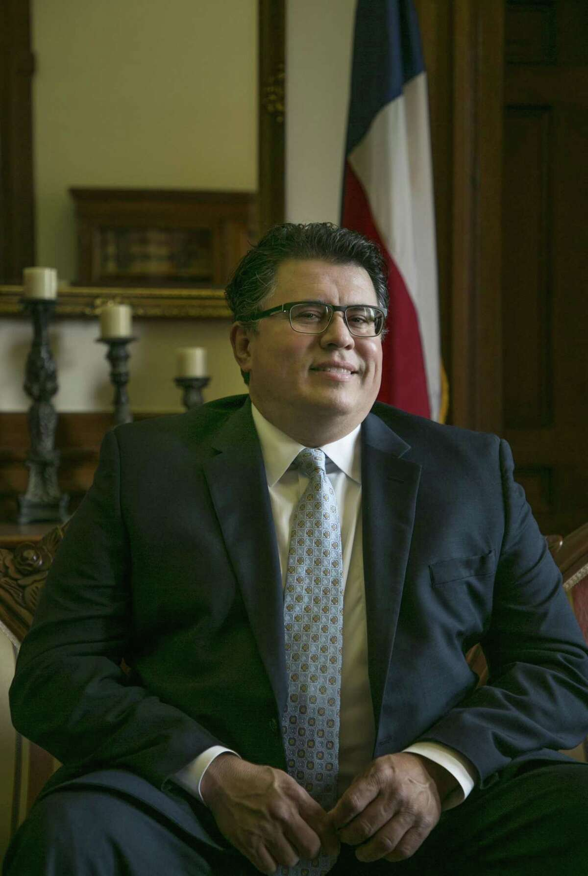 Secretary of State Rolando Pablos sits for a portrait in his office at the Texas State Capitol in Austin, Texas on Wednesday July 12, 2017. For Texas Power Brokers series photo by Kelly West