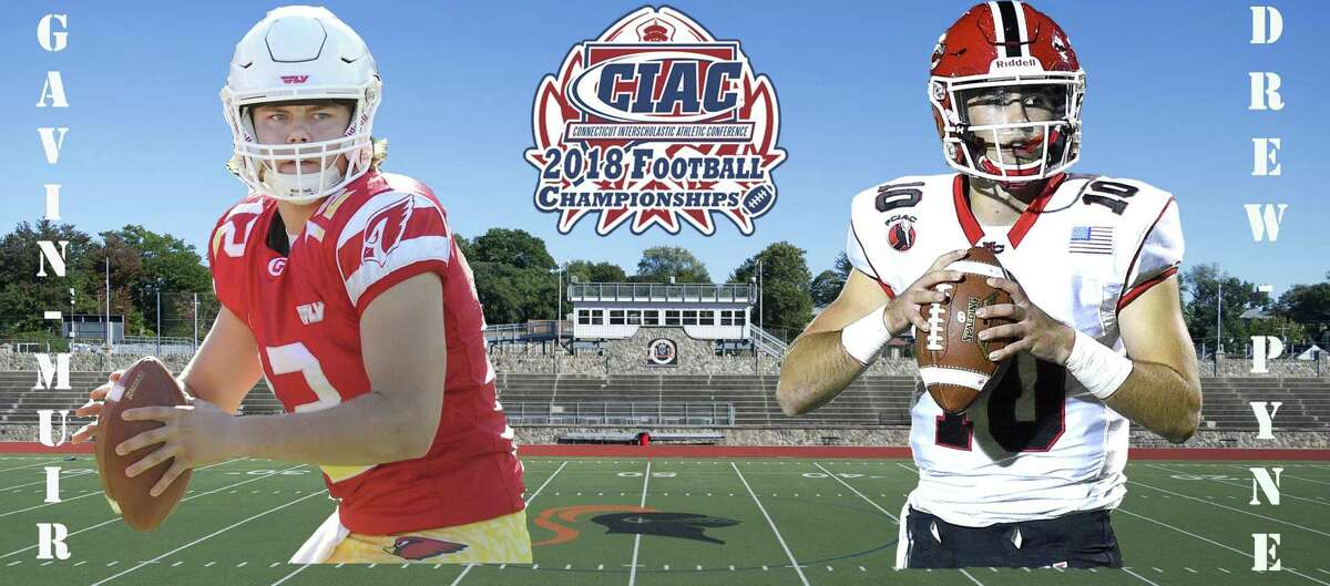 Quarterbacks Gavin Muir of Greenwich, left, and Drew Pyne of New Canaan will face off in Saturday's Class LL championship at Boyle Stadium in Stamford.