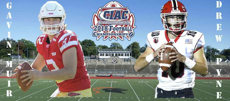 Quarterbacks Gavin Muir of Greenwich, left, and Drew Pyne of New Canaan will face off in Saturday's Class LL championship at Boyle Stadium in Stamford. Photo: Chris McNamee / Staff Illustration Muir By Bob Luckey Jr. Pyne By Matthew Brown Boyle Stadium By Mic / Hearst Connecticut Media / Stamford Advocate