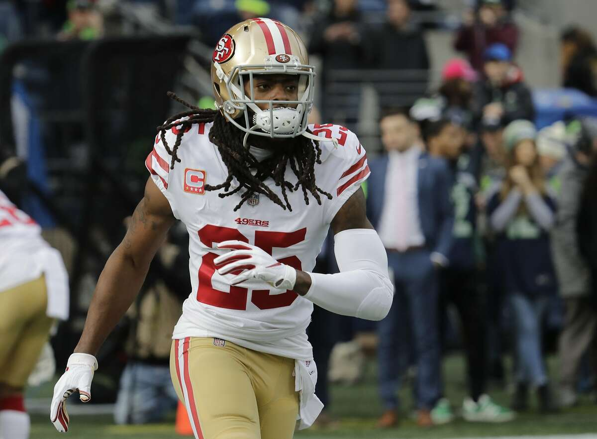 San Francisco 49ers cornerback Richard Sherman warms up before an NFL football game against the Seattle Seahawks, Sunday, Dec. 2, 2018, in Seattle. (AP Photo/Elaine Thompson)