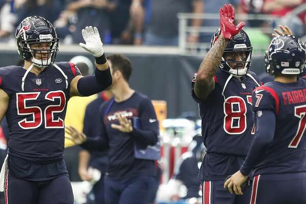 Houston Texans linebacker Brian Peters (52) and wide receiver Demaryius Thomas (87) congratulate kicker Ka'imi Fairbairn (7) after he kicked a 38-yard field goal against the Cleveland Browns during the fourth quarter of an NFL football game at NRG Stadium on Sunday, Dec. 2, 2018, in Houston.