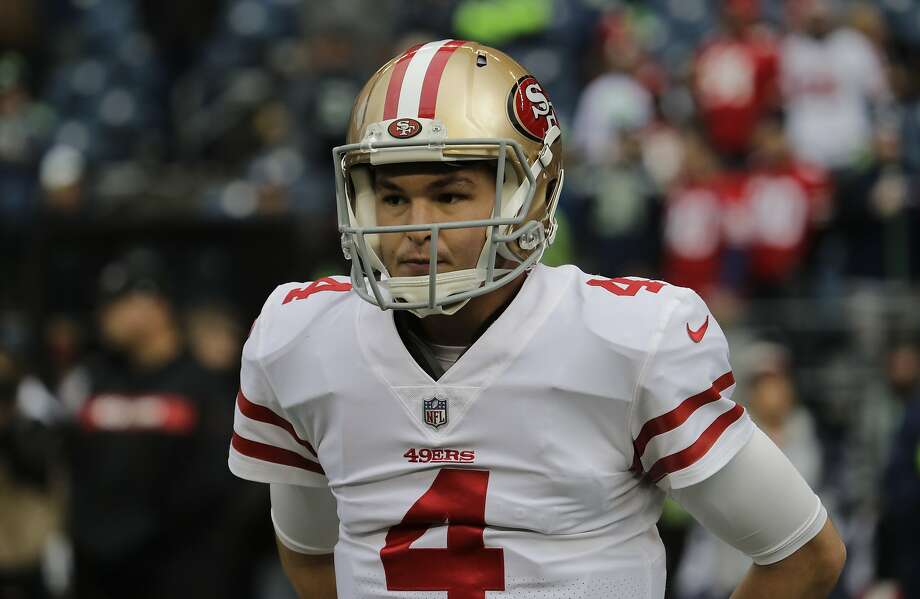 San Francisco 49ers quarterback Nick Mullens warms up before an NFL football game against the Seattle Seahawks, Sunday, Dec. 2, 2018, in Seattle. (AP Photo/Elaine Thompson) Photo: Elaine Thompson / Associated Press