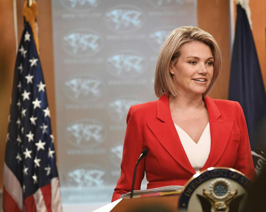 U.S. State Department spokesperson Heather Nauert addresses a press briefing on Oct. 2, 2018 in Washington D.C. Cybersecurity experts say hackers impersonated Nauert and her deputy Susan Stevenson. (Liu Jie/Xinhua/Zuma Press/TNS) Photo: Liu Jie/Xinhua, TNS