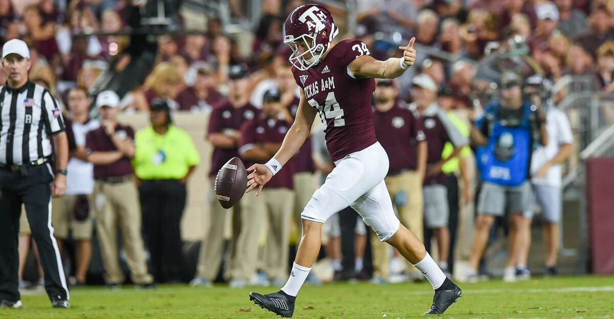 COLLEGE STATION, TX - OCTOBER 06: Texas A&M Aggies punter Braden Mann (34) kicks the ball during the game between the Kentucky Wildcats and Texas A&M Aggies on October 6, 2018 at Kyle Field in College Station, TX. (Photo by Daniel Dunn/Icon Sportswire via Getty Images)