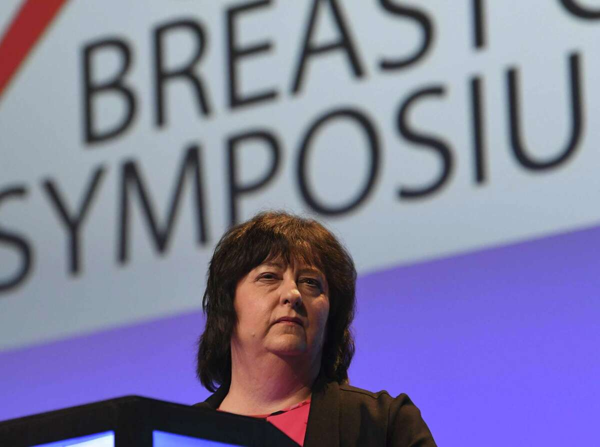 Dr. Kathy Albain speaks about race and cancer recurrence during the 2018 San Antonio Breast Cancer Symposium, an annual conference that draws thousands of cancer researchers and medical professionals, at the Henry B. Gonzalez Convention Center on Dec. 6, 2018.