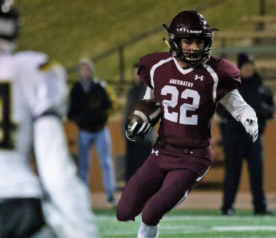 Abernathy senior wide receiver Joseph Sanchez picks up yardage on the ground during the Class 3A, Division II state quarterfinal game against Canadian on Thursday night at Dick Bivins Stadium in Amarillo. Canadian won, 19-7. Photo: Tyler Anderson/Amarillo Globe-News