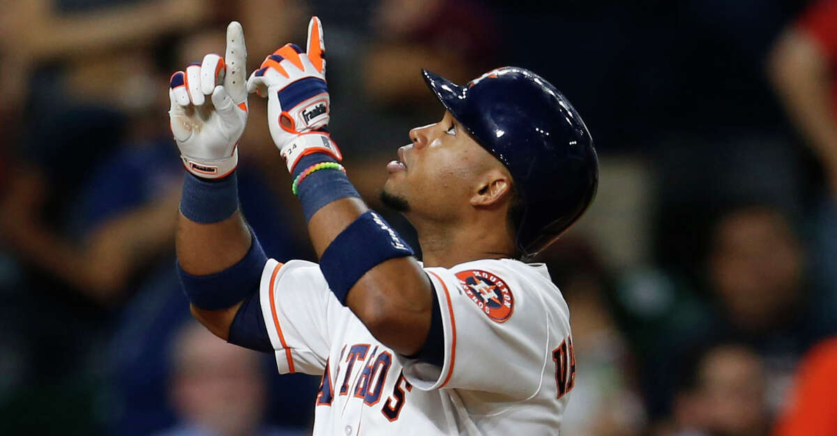 PHOTOS: A look at Luis Valbuena at his bat-flipping and celebrating best with the Astros Houston Astros third baseman Luis Valbuena (18) reacts after his solo home run in the sixth inning of an MLB baseball game at Minute Maid Park,Wednesday, May 25, 2016. ( Karen Warren / Houston Chronicle )
