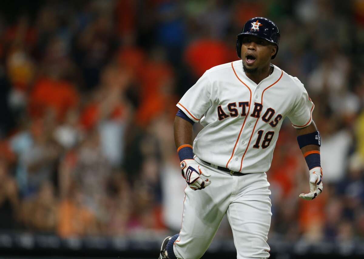 Houston Astros third baseman Luis Valbuena (18) reacts after his go-ahead, two run home run during the eighth inning of an MLB baseball game at Minute Maid Park, Wednesday, July 6, 2016, in Houston. ( Karen Warren / Houston Chronicle )