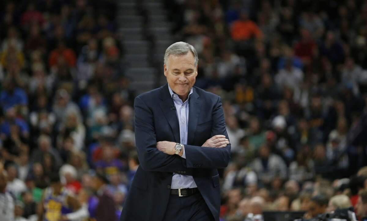 Houston Rockets head coach Mike D'Antoni looks on in the first half during an NBA basketball game against the Utah Jazz Thursday Dec. 6, 2018, in Salt Lake City. (AP Photo/Rick Bowmer)