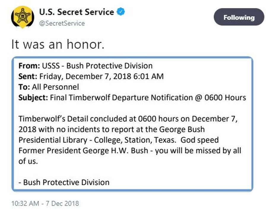 "A touching tribute to President George H.W. Bush a.k.a. ""Timberwolf"" from his U.S. Secret Service protection detail.