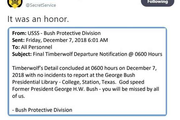 "A touching tribute to President George H.W. Bush a.k.a. ""Timberwolf"" from his U.S. Secret Service protection detail."