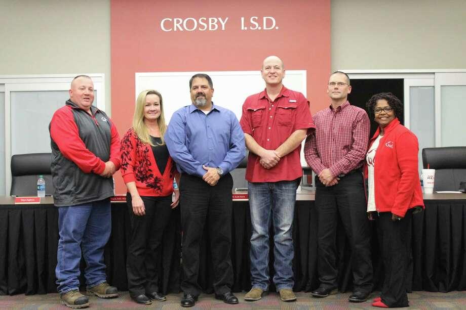 Crosby ISD board members from left to right: Randy Condra, Kasey Lewis, John Swinney, J.R Humphries, David Porter and Carla Windfont. Photo: Kaila Contreras