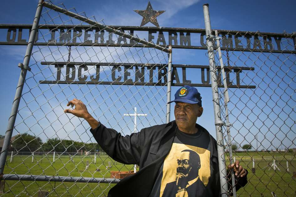 Reginald Moore, who has been striving for years to get recognition for the Old Imperial Farm cemetery that houses some bodies believed to be a part of the convict leasing system in Sugar Land, stands inside the cemetery where he serves as the steward, Tuesday, April 10, 2018, in Sugar Land. Fort Bend ISD and the Texas Historical Commission have identified a historic cemetery on the site of a new technical center under construction near the area where Moore has been focused for years, according to a news release issued Friday by the school district.