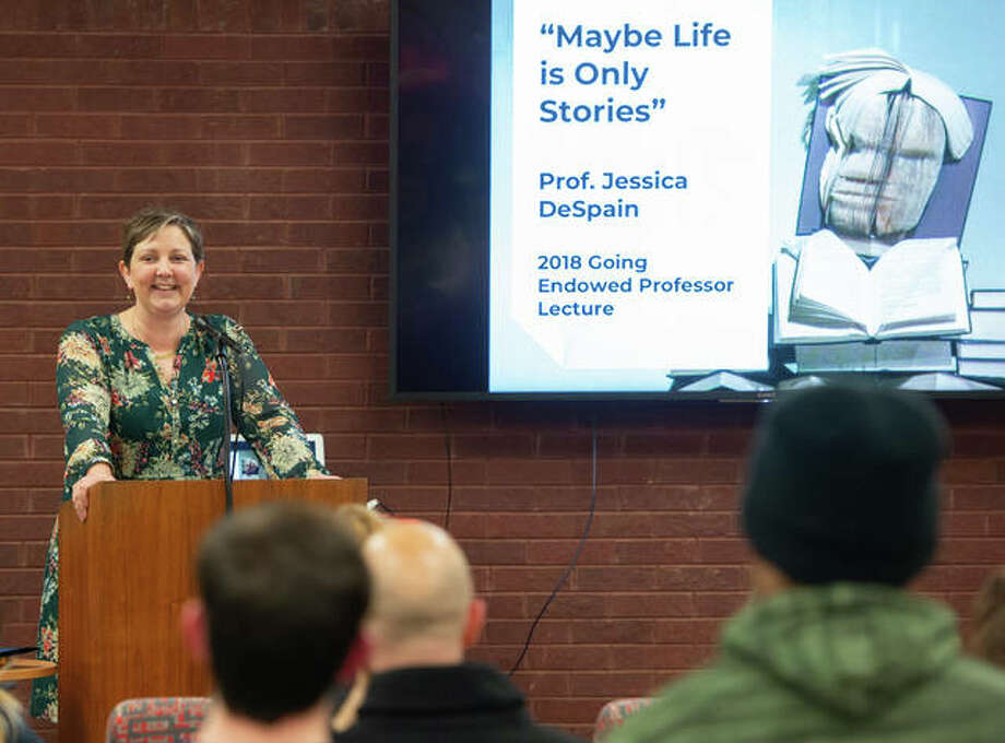 Jessica DeSpain, PhD, presents the 2018 Going Lecture in the Friends' Corner of Lovejoy Library. Photo: For The Telegraph