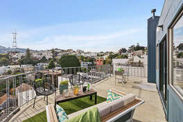 This 1980s Corona Heights has a vintage and modern feel plus incredible views: a little piece of art on Museum Way whose price has doubled since it last hit the market: asking now $1.549M