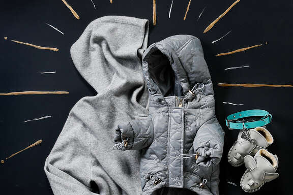 A Kathryn McCarron cashmere hoodie, Rororiri dog hoodie, Tiffany & Co. leather dog collar with silver tag and RH leather booties are among the 2018 gifts for the holidays seen on Wednesday, Nov. 14, 2018 in San Francisco, Calif.