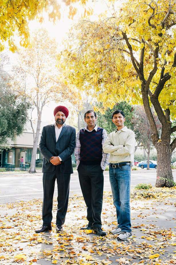 Kamal Ahluwalia (left), president of the hiring service Eightfold.ai, stands with CEO Ashutosh Garg and Chief Technical Officer Varun Kacholia. Photo: Anastasiia Sapon / New York Times