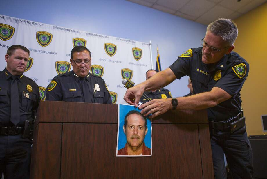 Houston Police Chief Art Acevedo identifies Joseph James Pappas as the suspect in the slaying of Dr. Mark Hausknecht during a press conference at HPD headquarters, Wednesday, Aug. 1, 2018 in Houston. The suspect, Joseph James Pappas, 65, is now wanted on an arrest warrant and is considered to be suicidal and dangerous. Pappas' mother was one of Hausknecht's former patients who died during surgery over 20 years ago, providing a motive in the killing, the chief said during a press conference Wednesday. Photo: Mark Mulligan/Staff Photographer