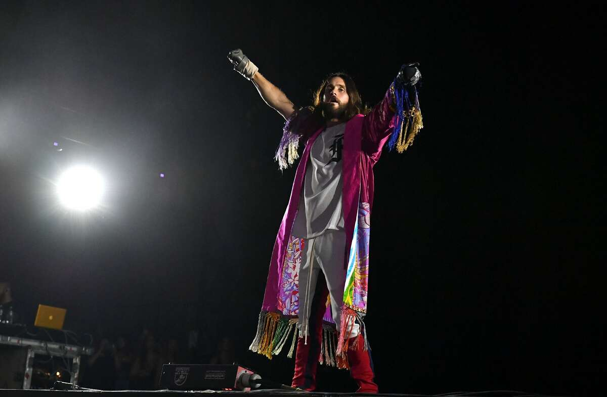 ATLANTA, GA - SEPTEMBER 15: Jared Leto of 30 Seconds To Mars performs in concert during 2018 Music Midtown at Piedmont Park on September 15, 2018 in Atlanta, Georgia. (Photo by Paras Griffin/WireImage)