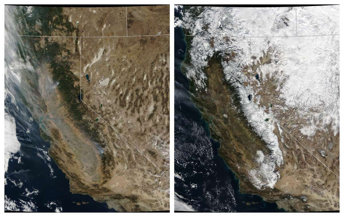Sierra snowpack taken from a NASA satellite: left, Nov. 20, 2018; right, Dec. 2, 2018. Click or swipe through these photos to see what it looks like in the snowy Sierra.