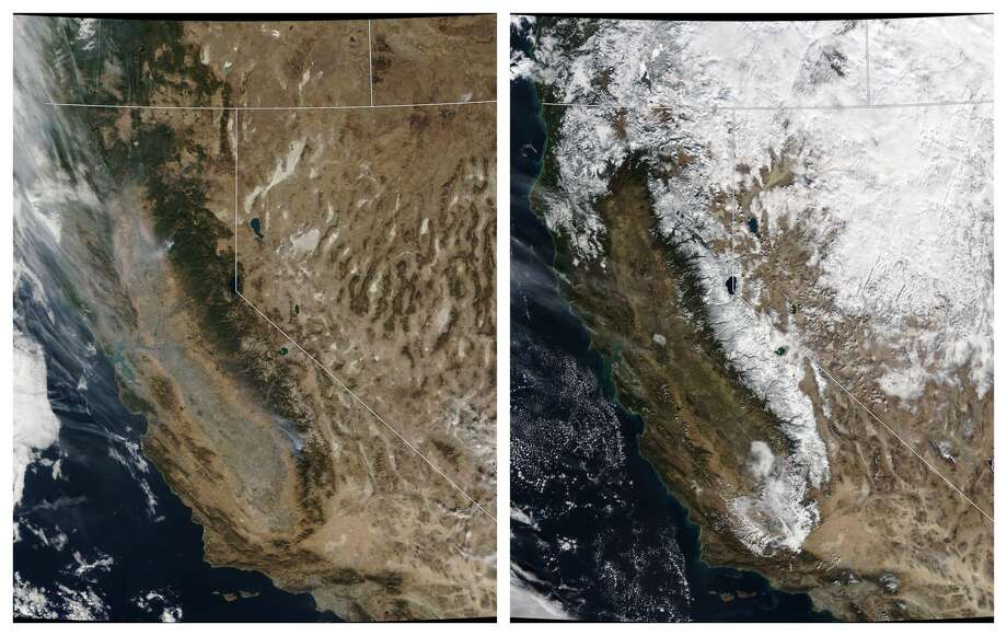 Sierra snowpack taken from a NASA satellite: left, Nov. 20, 2018; right, Dec. 2, 2018. Click or swipe through these photos to see what it looks like in the snowy Sierra. Photo: NASA