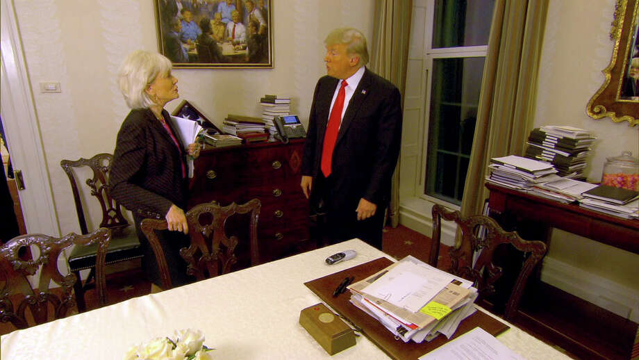 """""""The Republican Club"""" painting is seen hanging in the White House during a """"60 Minutes"""" interview. Photo: CBS News / CBS News"""