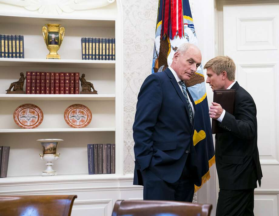 A White House official said Sunday, Dec. 9, 2018, that Nick Ayers, Vice President Mike Pence's chief of staff, will not be taking over from John Kelly, shown at left, when the White House chief of staff steps down toward the end of the year. (Doug Mills/The New York Times) Photo: Doug Mills / New York Times