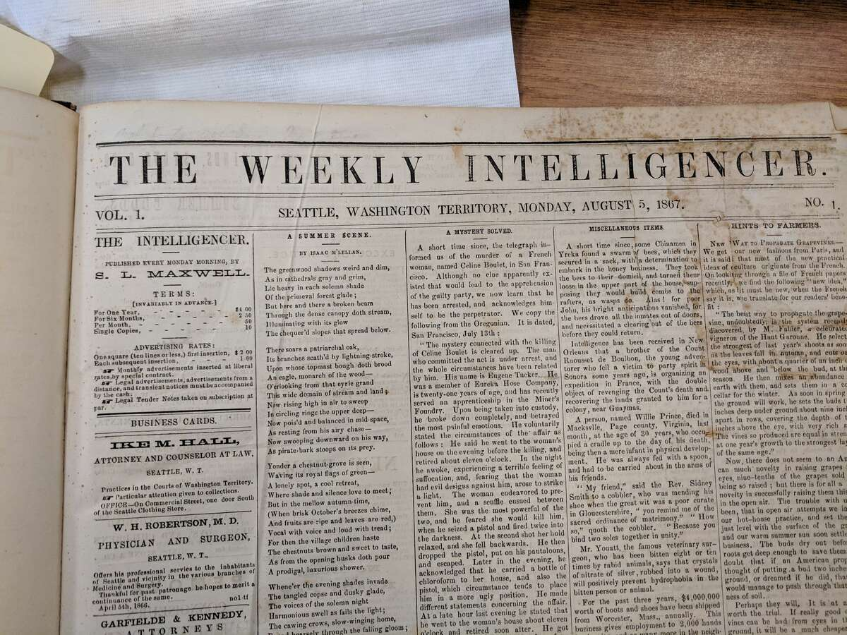 The first edition of The Weekly Intelligencer, Aug. 5, 1867. This was already the third name of the paper, less than four years after its first incarnation, the Seattle Gazette, had debuted.