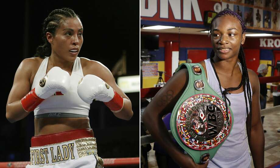 FILE - At left, in a May 5, 2018, file photo, Cecilia Braekhus, of Norway, is shown in action during a fight against Kali Reis, in Carson, Calif. At right, in an Aug. 1, 2017, file photo, Claressa Shields poses in the Kronk gym ring during a media availability, in Detroit. Cecilia Braekhus was in the first women's boxing match on HBO, and the dominant Norwegian champion will be in the main event of HBO's final boxing show Saturday night when she defends her welterweight titles against Aleksandra Magdziak-Lopes. On the undercard, two-time Olympic gold medalist Claressa Shields defends her middleweight belts against Femke Hermans. (AP Photo/File) Photo: Associated Press