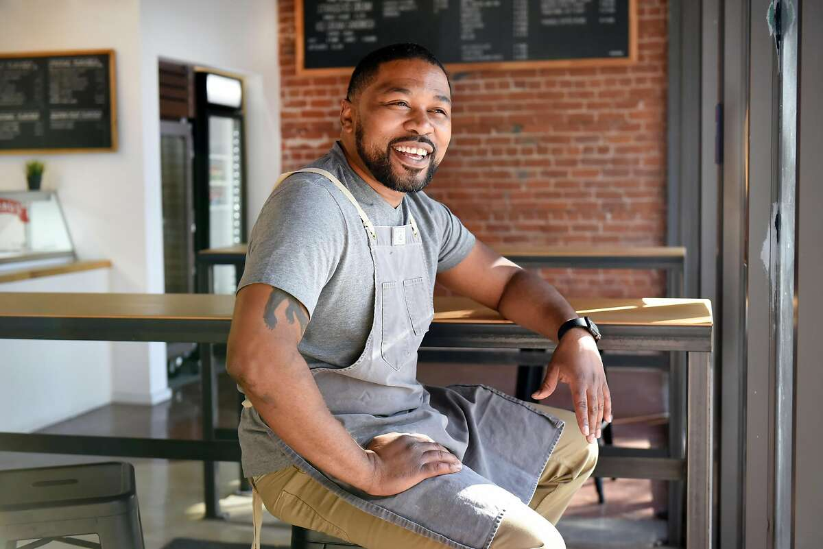 Owner Anthony Lucas sits for a portrait at Anthony's Cookies shop and bakery in Berkeley, CA, on Friday November 2, 2018.