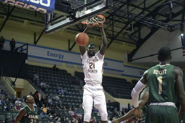 Center Christ Koumadje and Florida State face UConn on Saturday at the Prudential Center in Newark, New Jersey.