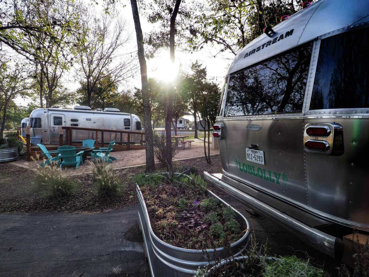 The Airstream trailers at North Shore Lake Bastrop Park are outfitted with TVs, a microwave, stovetop, refrigerator and sink. Each sleeps four people.