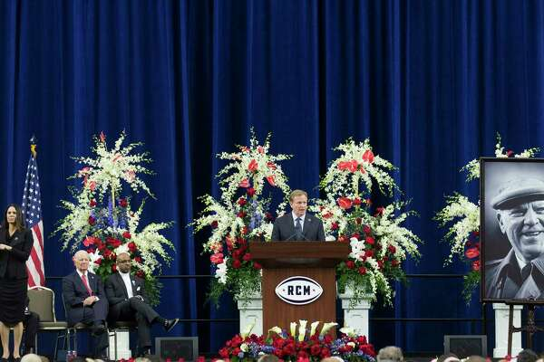 NFL Commissioner Roger Goodell speaks during a public celebration of life for Houston Texans owner Robert C. McNair at NRG Stadium, Friday, Dec. 7, 2018, in Houston. McNair, who brought the NFL back to Houston after the Oilers left for Tennessee, died on Nov. 30 at the age of 81.