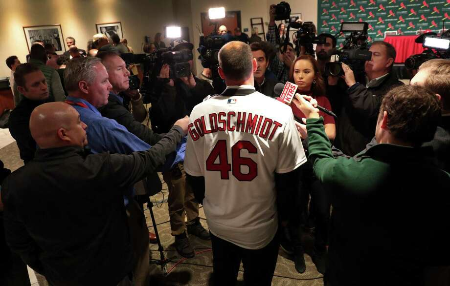 St. Louis Cardinals' newest player Paul Goldschmidt speaks with reporters after his introduction at a baseball news conference, Friday, Dec. 7, 2018, at Busch Stadium in St. Louis. The six-time All-Star was acquired from Arizona this week and will earn $14.5 million in the final season of a seven-year deal that will pay $46 million, including a $1 million assignment bonus for the trade. (Robert Cohen/St. Louis Post-Dispatch via AP) Photo: Robert Cohen, MBI / Associated Press / St. Louis Post-Dispatch