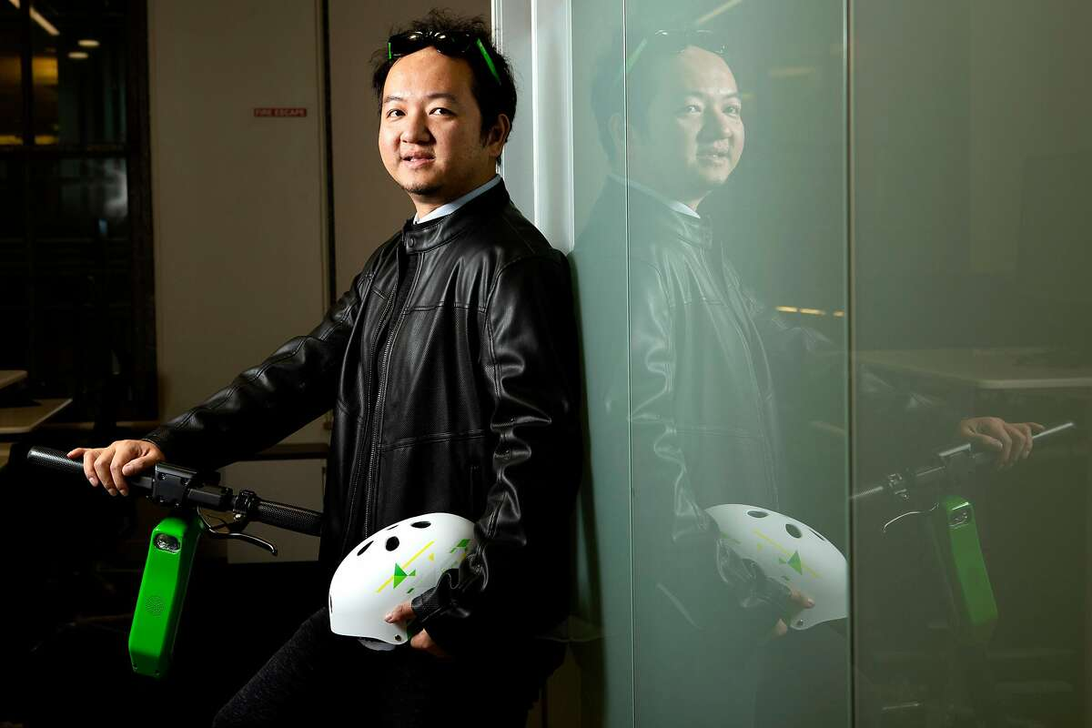 A portrait of Lime CEO and co-founder Toby Sun on the company's new Lime-S Gen 3 electric scooter on Tuesday, Dec. 4, 2018, in San Francisco, Calif. The electric scooter company's new headquarters is located at 85 Second St.