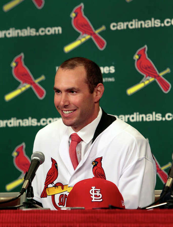 The Cardinals' newest player Paul Goldschmidt speaks after his introduction at a baseball news conference, Friday, Dec. 7, 2018 at Busch Stadium in St. Louis. The six-time All-Star was acquired from Arizona this week and will earn $14.5 million in the final season of a seven-year deal that will pay $46 million, including a $1 million assignment bonus for the trade. Photo: AP